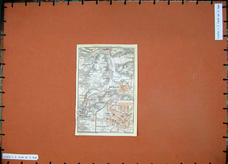 Print 1913 Colour Map Germany Street Plan Naumburg Kosen 139D118 Old Original