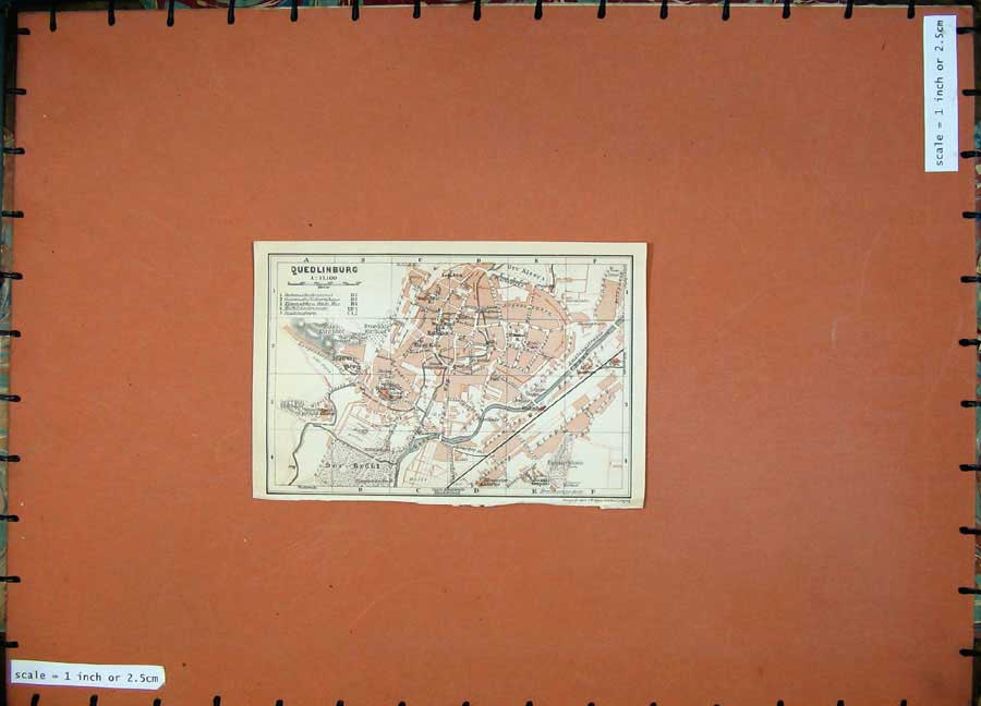 Print 1913 Colour Map Germany Street Plan Quedlinburg Bode 148D118 Old Original