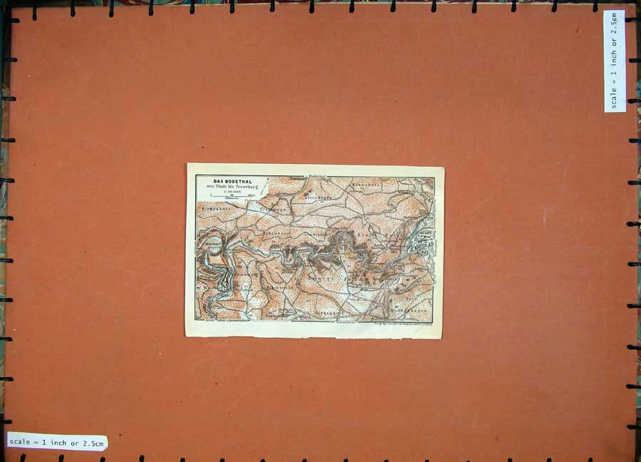 Print 1913 Colour Map Germany Das Bodethal Konigl Forst 149D118 Old Original