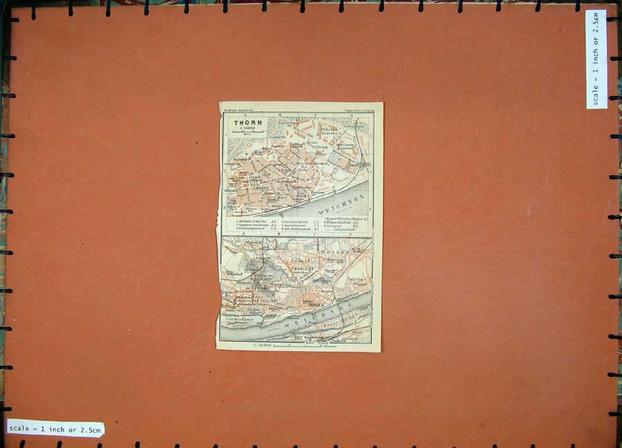 Print 1913Colour Map Germany Street Plan Thorn River Weichsel 154D118 Old Original