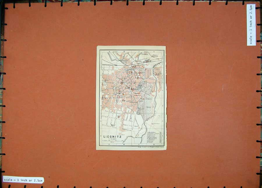 Print 1913 Colour Map Germany Street Plan Liegnitz Schloss 157D118 Old Original