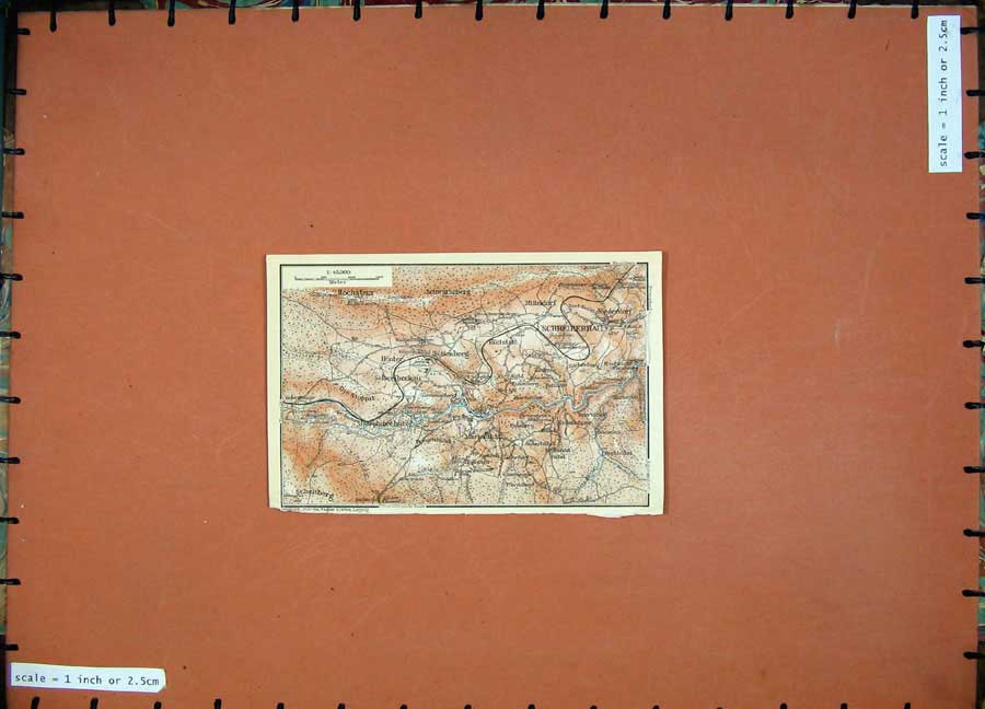 Print 1913 Colour Map Germany Schreiberhau Hittenberg Hinter 160D118 Old Original