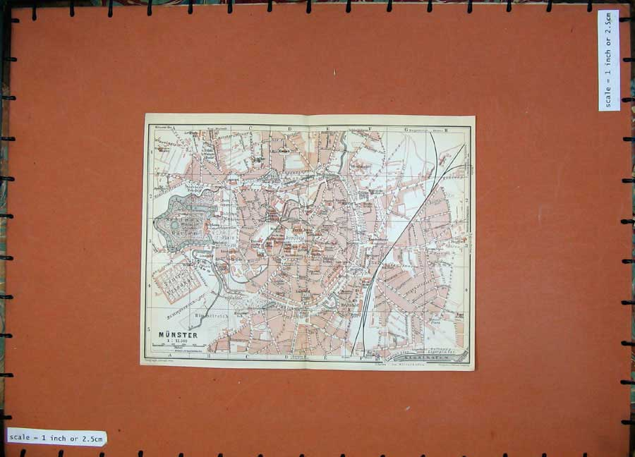 Print 1913 Colour Map Germany Street Plan Munster Schloss 175D118 Old Original