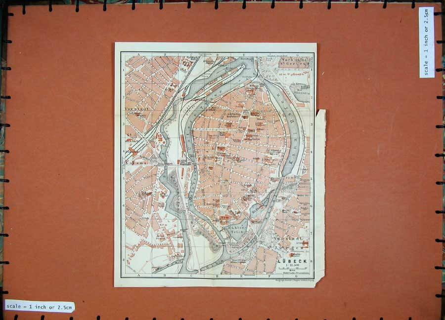 Print 1913 Colour Map Germany Street Plan Lubeck Elbe River 177D118 Old Original