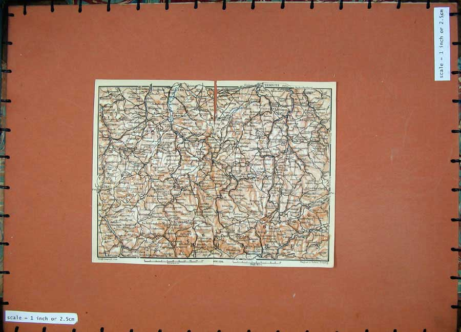 Print 1913 Colour Map Germany Bohme Chemnitz Glauchau Berga 179D118 Old Original