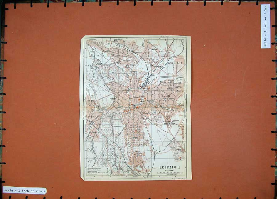 Print 1913 Colour Map Germany Street Plan Leipzig Schonefeld 180D118 Old Original