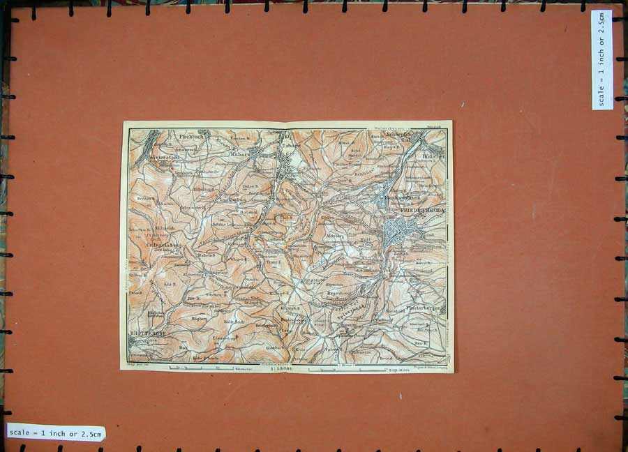 Print 1913 Colour Map Germany Tabarz Friedrichroda Kabarz 184D118 Old Original