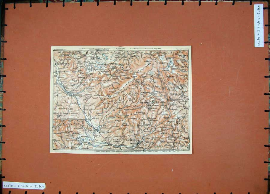 Print 1913 Colour Map Germany Herzberg Braunlage Altenau 186D118 Old Original