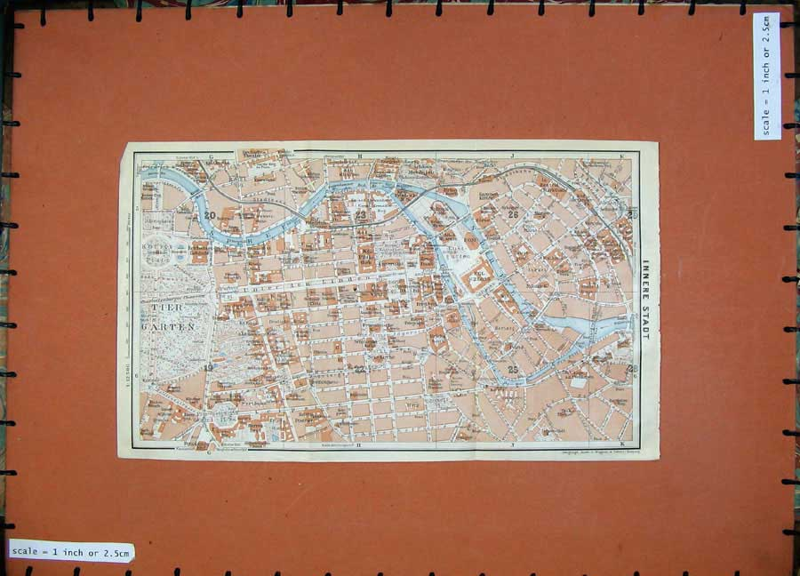 Print 1913 Colour Map Germany Street Plan Innere Stadt Spree 191D118 Old Original