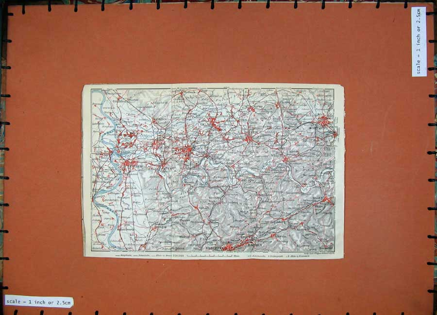 Print 1913 Colour Map Germany Duisburg Barmen Hagen Dortmund 193D118 Old Original