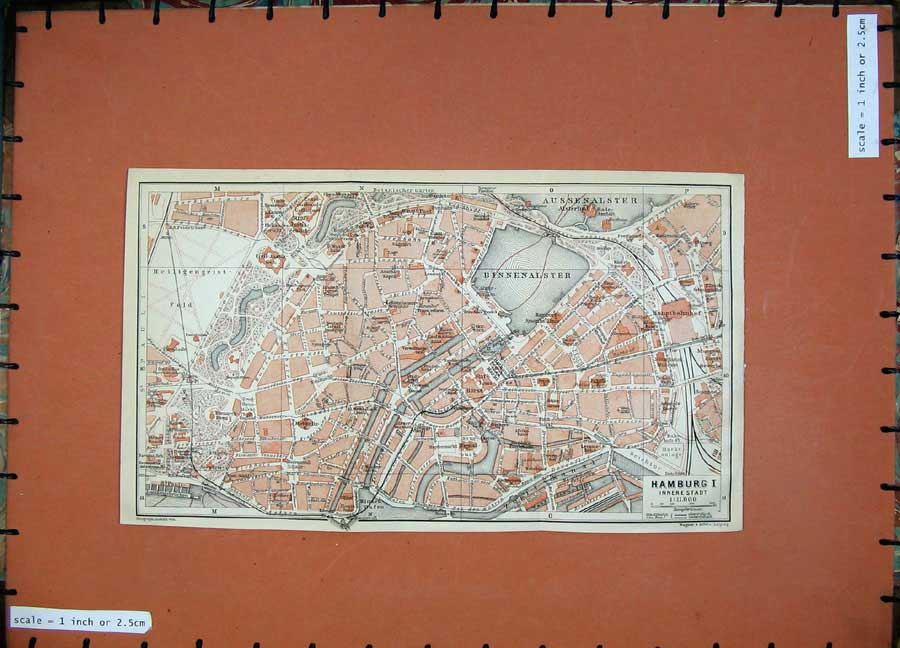 Print 1913 Colour Map Germany Street Plan Hamburg Zool Kanal 194D118 Old Original