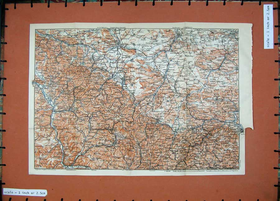 Print 1913 Colour Map Germany Gotha Erfurt Weimar Ilmenau 200D118 Old Original