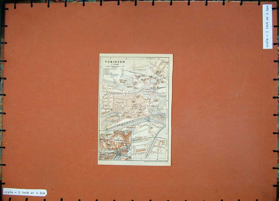 Print 1910 Colour Map Germany Street Plan Tubingen Friedhof 305D119 Old Original