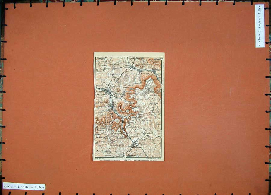 Print 1910 Colour Map Germany Metzingen Neuffen Klein Eningen 309D119 Old Original