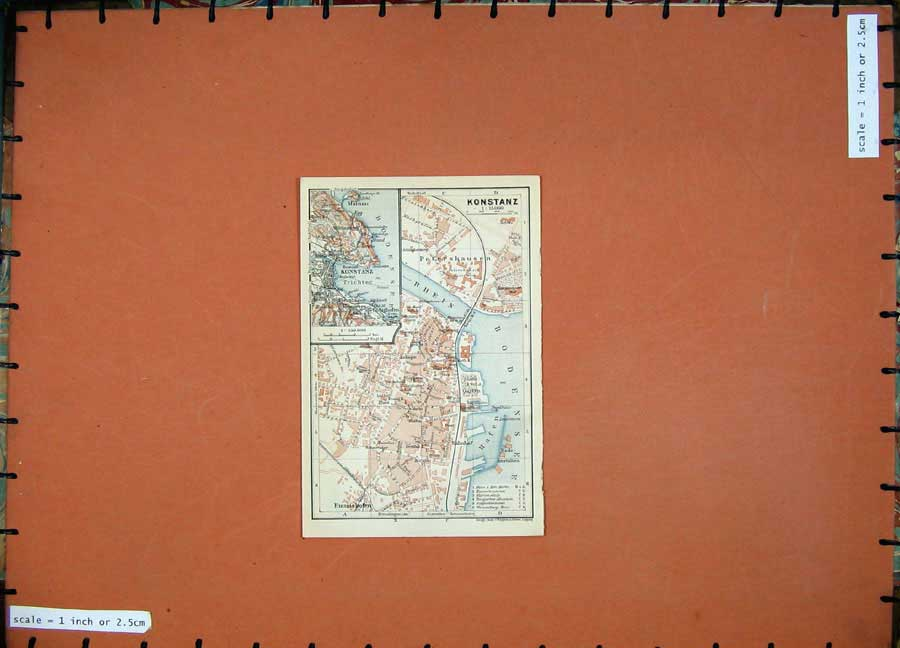 Print 1910 Colour Map Germany Street Plan Konstanz Rhein 310D119 Old Original