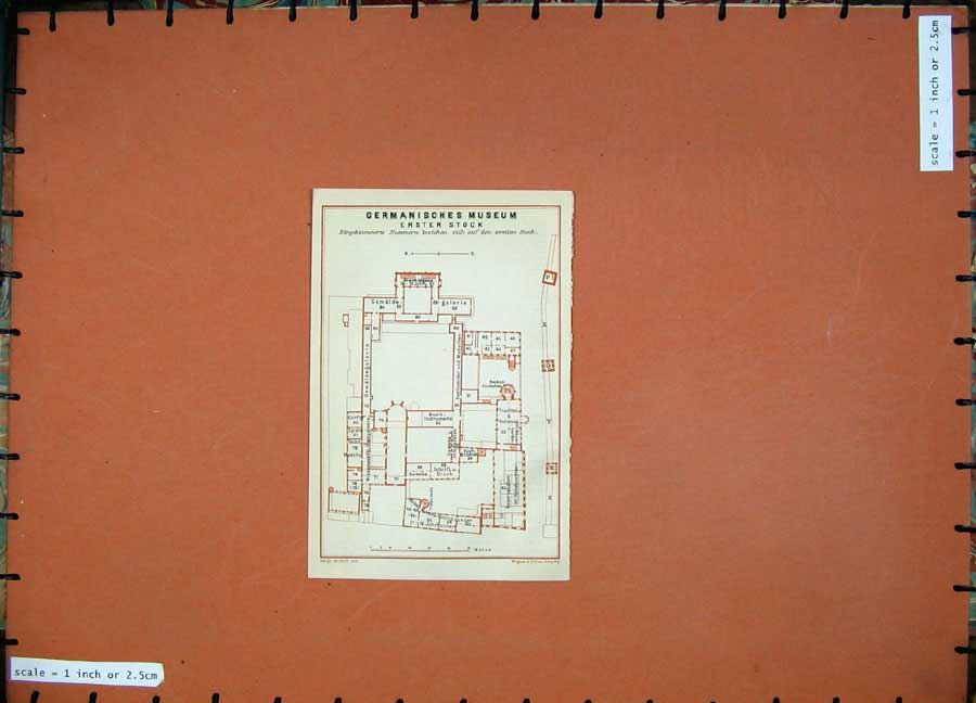 Print 1910 Colour Map Germany Plan Germaisches Museum Erster 319D119 Old Original