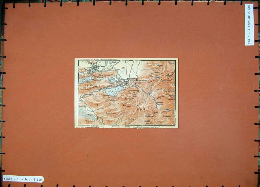 Print 1910 Colour Map Germany Fussen Kitzberg Kienenberg Lech 327D119 Old Original