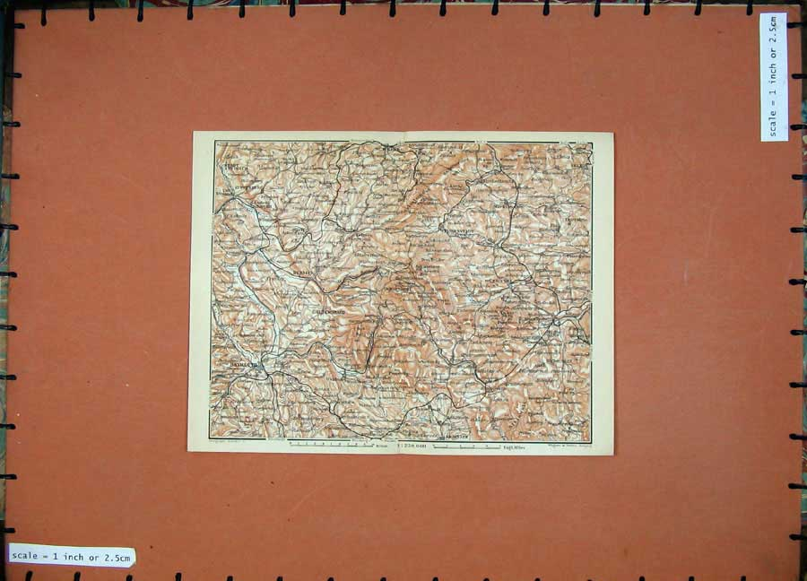 Print 1910 Colour Map Germany Bayreuth Wunsiedel Munchrerg 337D119 Old Original