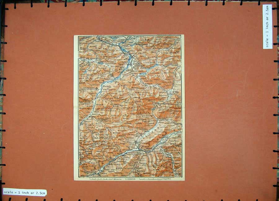 Print 1910 Colour Map Germany Imst Hetterwang Fussen Elmen 342D119 Old Original
