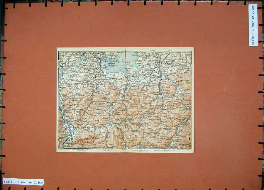 Print 1910 Colour Map Germany Traunstein Chiemsee Unken Prign 345D119 Old Original