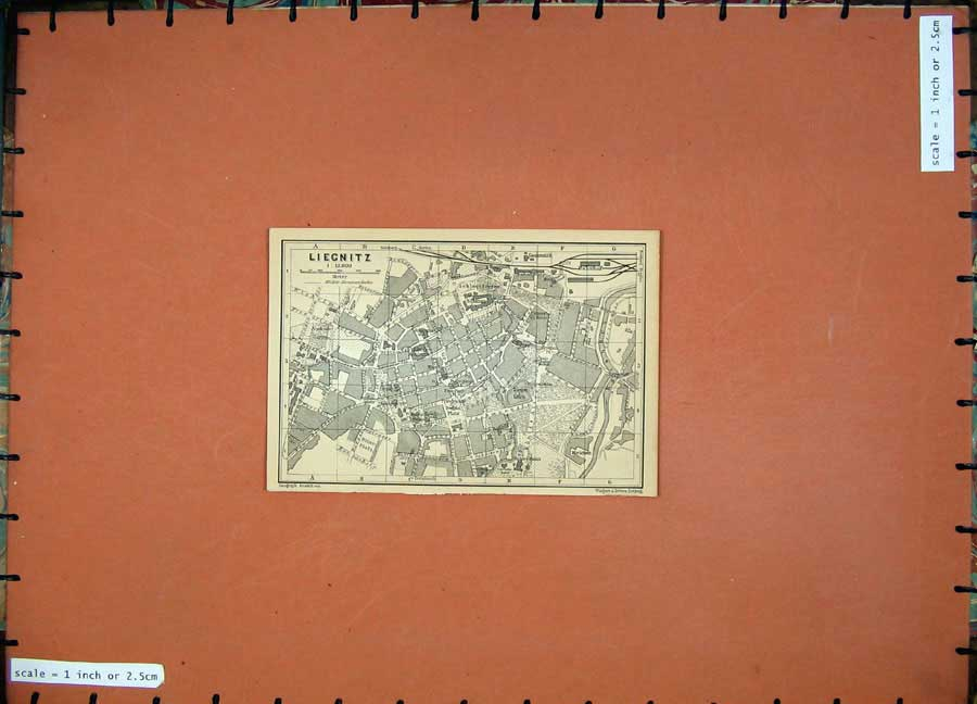 Print 1900 Street Plan Liegnitz Map Germany Baedeker 108D120 Old Original