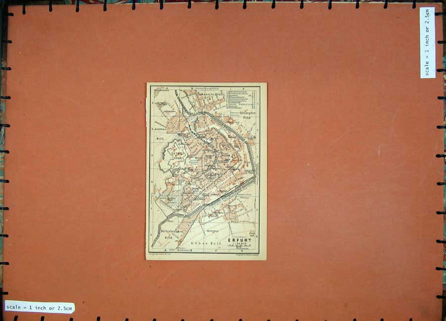 Print 1900 Colour Map Germany Street Plan Erfurt Johannis 127D120 Old Original