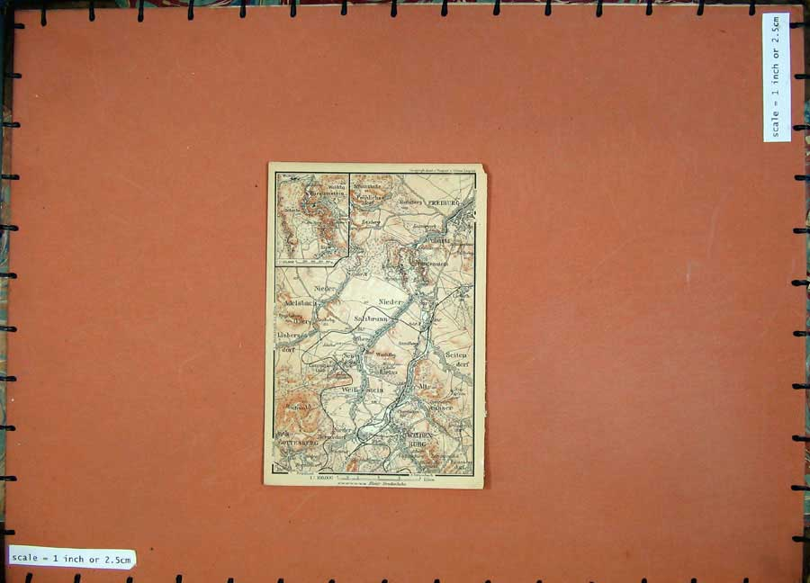 Print 1900 Colour Map Germany Freiburg Nieder Waldenburg 134D120 Old Original