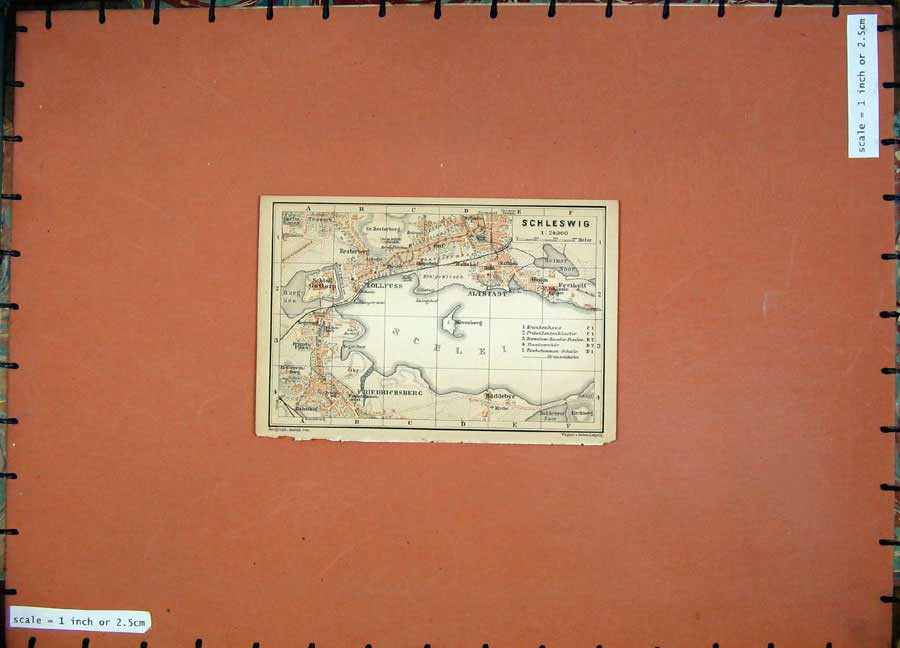 Print 1900 Colour Map Germany Street Plan Schleswig Lollfuss 142D120 Old Original
