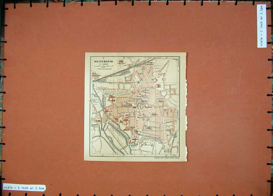Print 1900 Colour Map Germany Street Plan Hildesheim Baedeker 149D120 Old Original