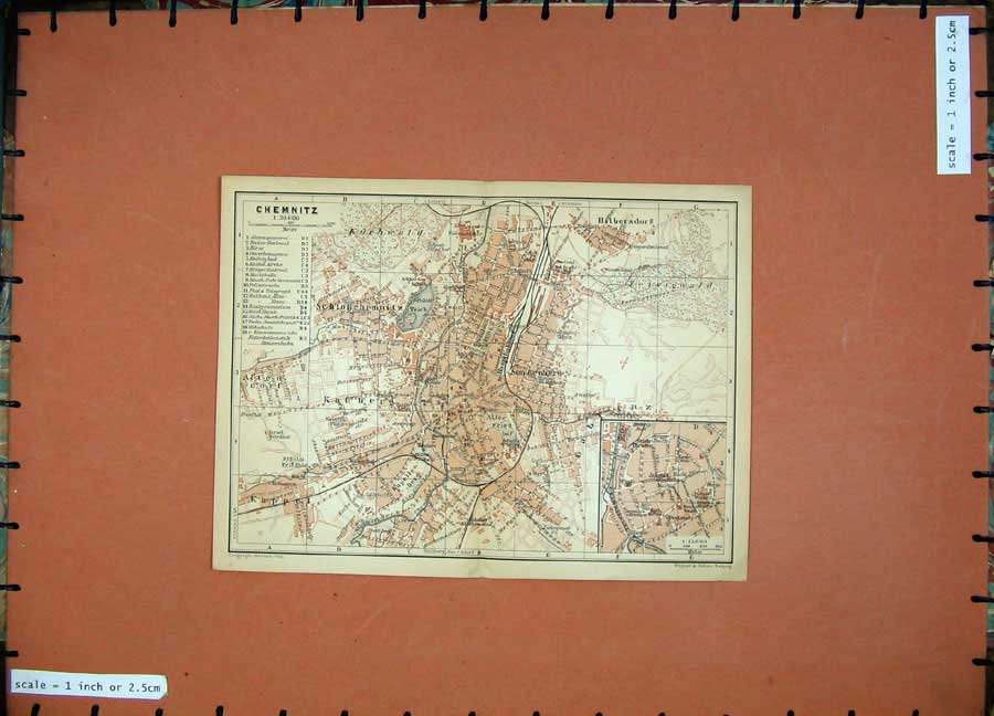 Print 1900 Colour Map Germany Street Plan Chemnitz Kuchwald 165D120 Old Original