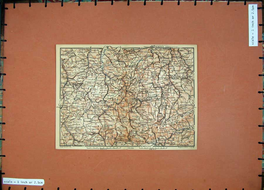 Print 1900 Colour Map Germany Zwickau Chemnitz Elsterberg 166D120 Old Original