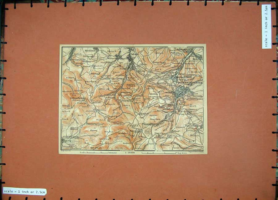 Print Colour Map Germany 1900 Friedrichroda Winterstein 169D120 Old Original