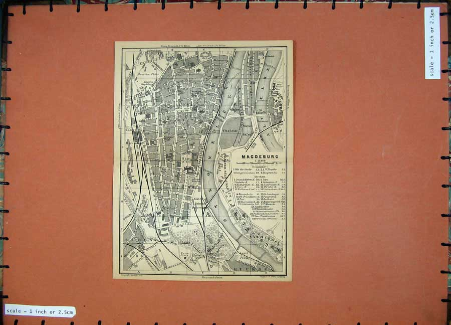 Print 1900 Map Germany Street Plan Magdebrug Suden 172D120 Old Original