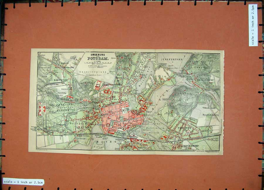 Print 1900 Colour Map Germany Street Plan Umgebung Potsdam 177D120 Old Original