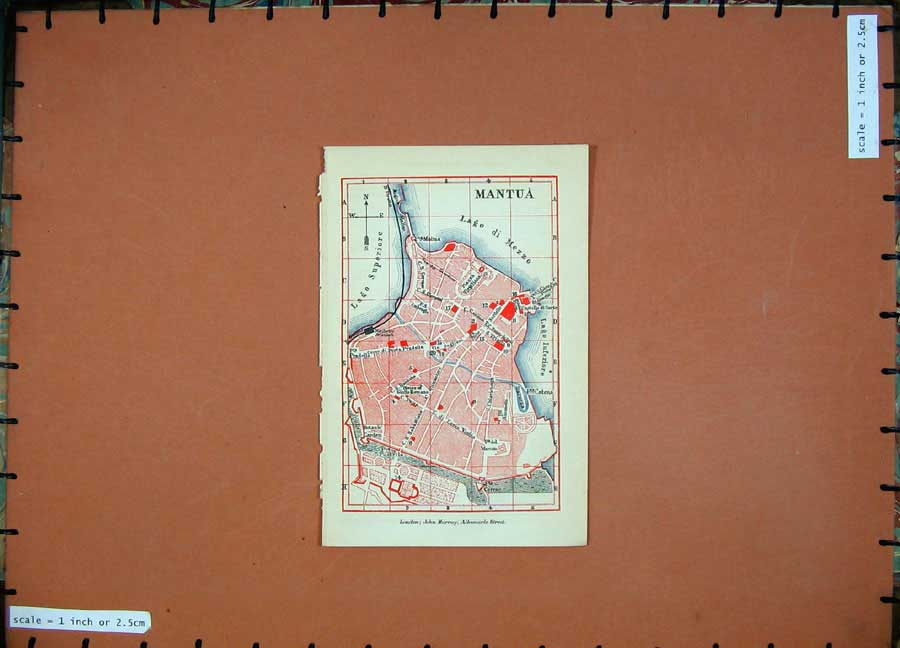Print 1891 Colour Map Italy Street Plan Mantua Lago Mezzo 103D121 Old Original