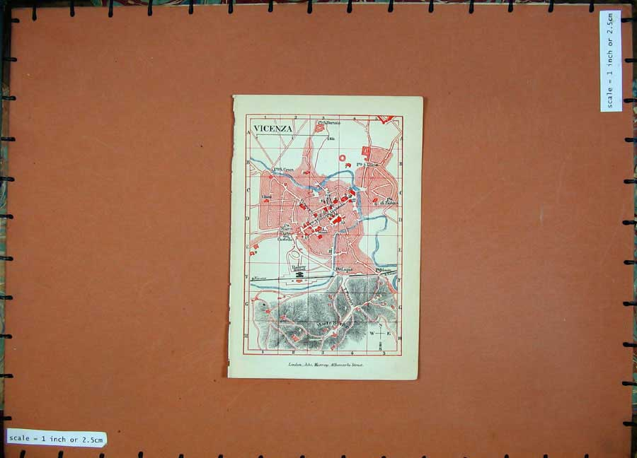 Print 1891 Colour Map Italy Street Plan Vicenza Monte Berico 104D121 Old Original