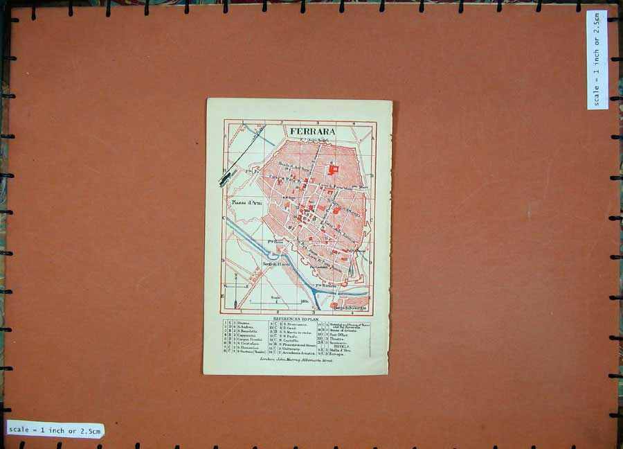 Print 1891 Colour Map Italy Street Plan Ferrara Borga Giorgio 105D121 Old Original