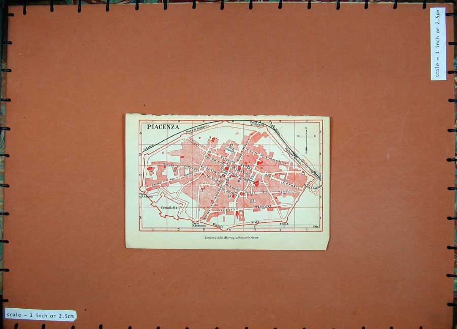 Print 1891 Colour Map Italy Street Plan Piacenza Cittadella 106D121 Old Original