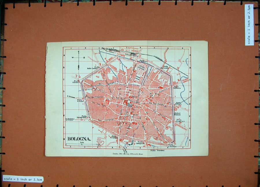 Print 1891 Colour Map Italy Street Plan Bologna Railway 119D121 Old Original