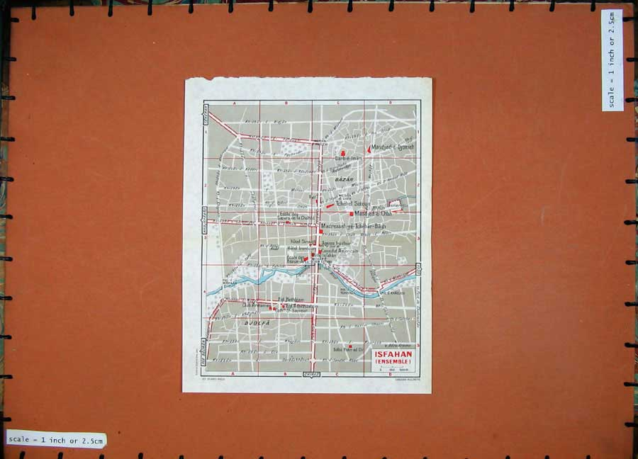 Print 1965 Colour Map Street Plan Isfahan Middle East 101D122 Old Original