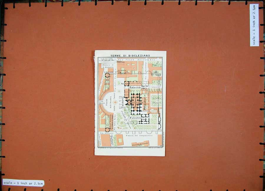 Print 1934 Map Italy Plan Terme Di Diocleziano Piazza 102D123 Old Original