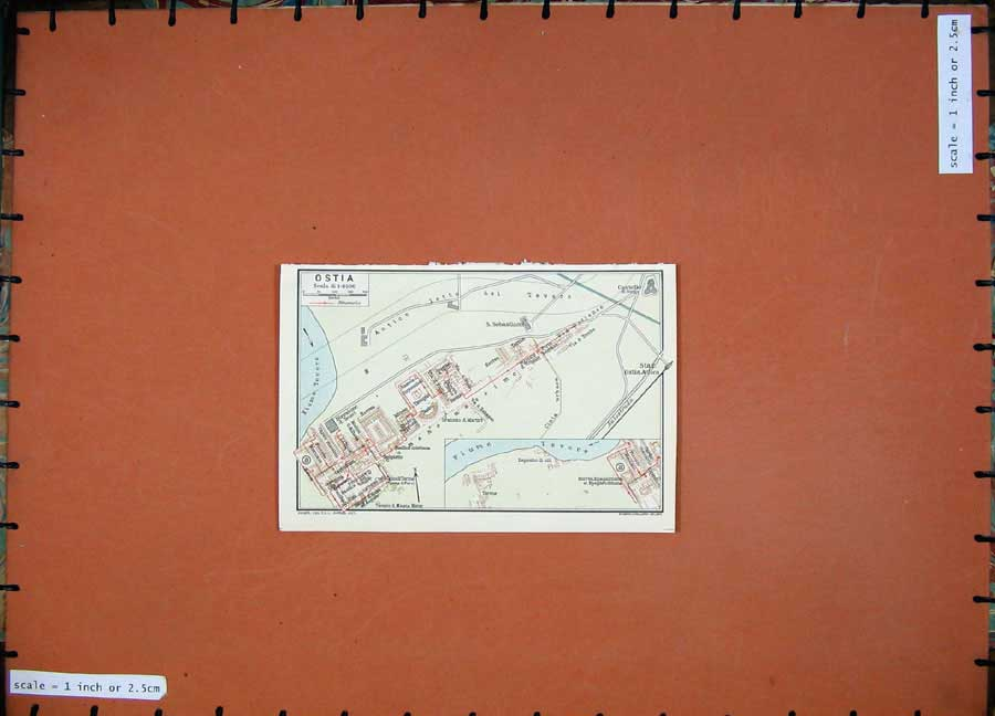 Print 1934 Colour Map Italy Street Plan Ostia River Tevere 104D123 Old Original