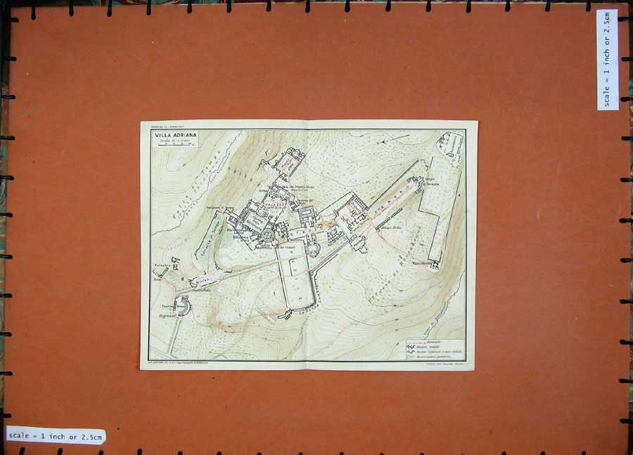 Print 1934 Map Italy Plan Villa Adriana Pecile Canopo 111D123 Old Original