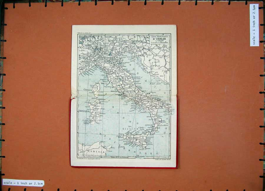Print 1934 Colour Map Italy Corsica Sardinia Sicily Roma 114D123 Old Original