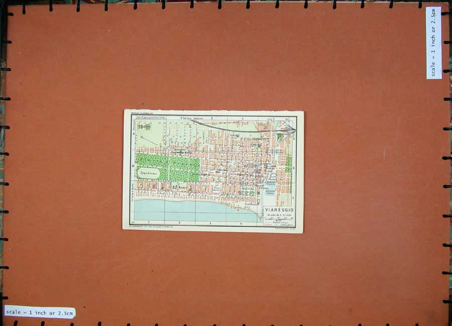 Print 1935 Colour Map Toscana Street Plan Viareggio Cimitero 103D124 Old Original