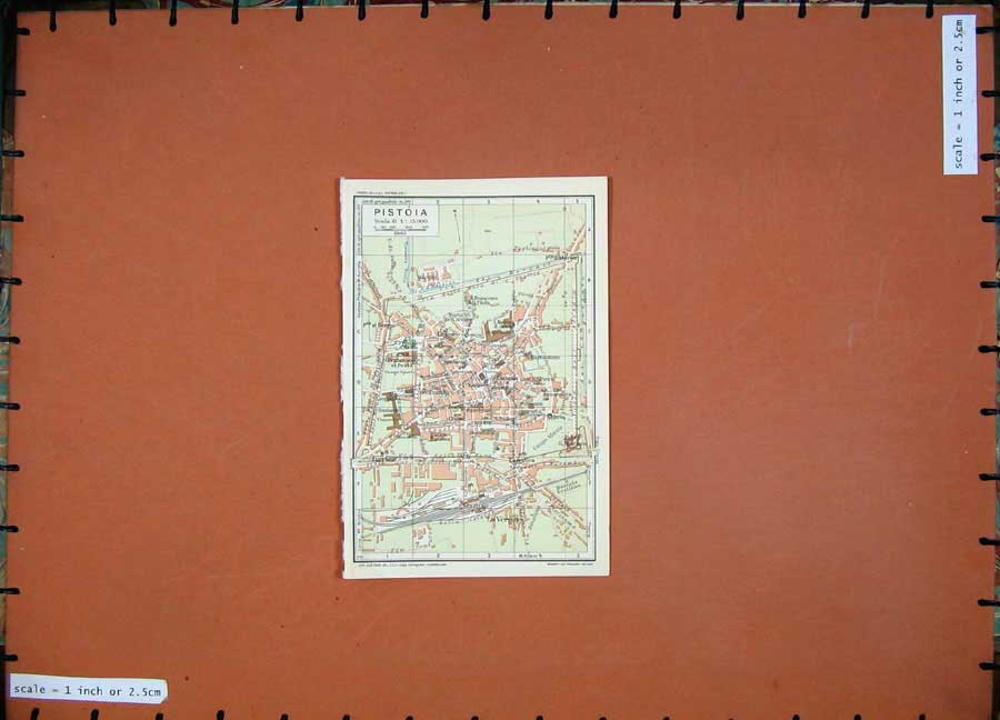 Print 1935 Colour Map Toscana Street Plan Pistoia Borgo Marco 104D124 Old Original