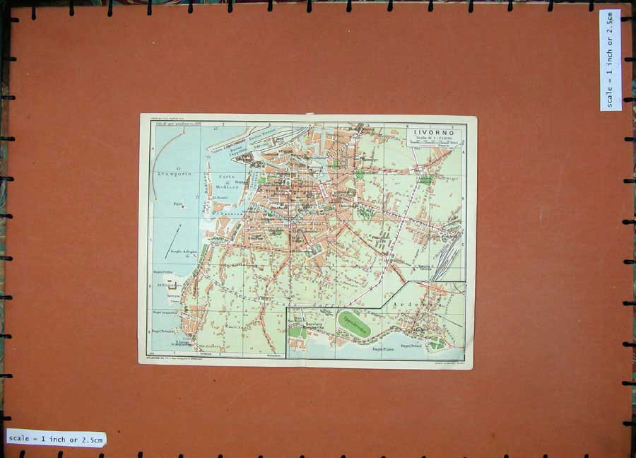 Print Toscana 1935 Colour Map Street Plan Livorno Ardenza 120D124 Old Original