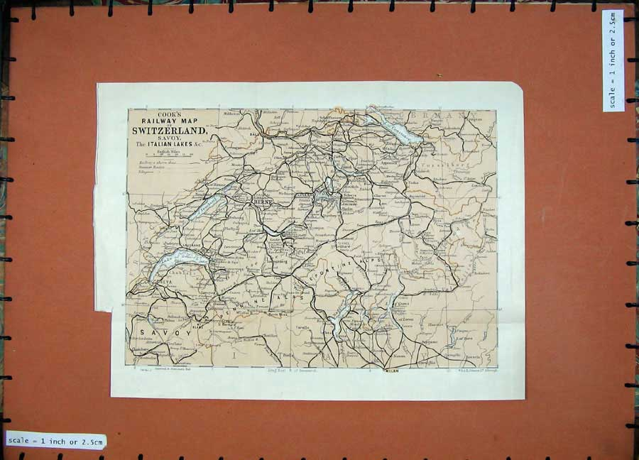 Print 1925 Colour Cook'S Railway Map Switzerland Savoy Lakes 108D125 Old Original