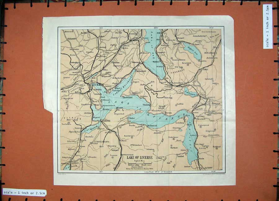 Print 1925 Colour Map Lake Lucerne Zug Switzerland Schwyz 109D125 Old Original