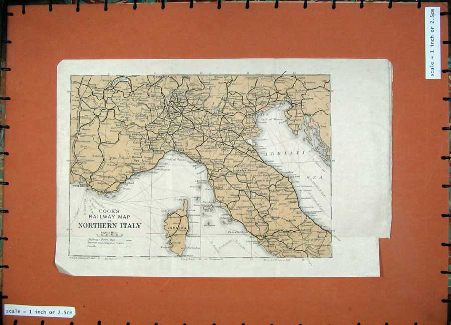Print 1921 Cook'S Colour Railway Map Northern Italy Corsica 206D127 Old Original
